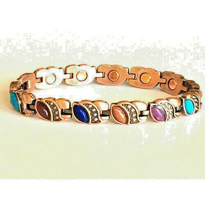 COPPER HIGH POWER MAGNETIC BRACELET OVAL STONE DESIGN MAGNET EVERY LINK (Copper Oval Links)