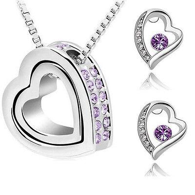 Schmuckset Kristall Herz Kette Anhänger Ohrringe Silber Lila Swarovski® Kristall