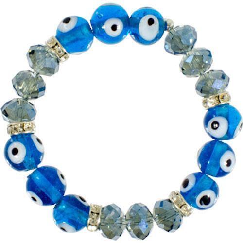 Evil Eye Ward Aqua and Clear Beads Bracelet!
