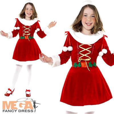 Little Miss Santa Girls Fancy Dress Festive Xmas Christmas Childs Costume - Little Miss Santa Outfit