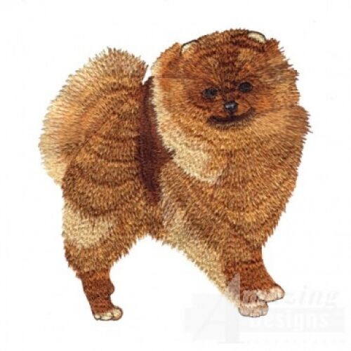 Large Embroidered Zippered Tote - Pomeranian AD016
