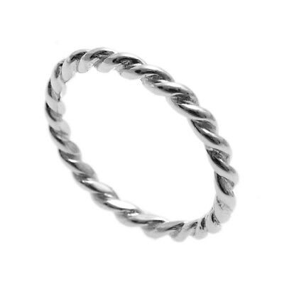 (925 Sterling Silver Thin Twist Rope Design Band Ring Size 5-9)