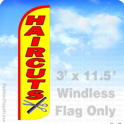 Haircuts - Windless Swooper Flag Feather Banner Hair Cuts Sign 3x11.5 Yq