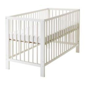Ikea Gulliver White Baby Cot With Mattress
