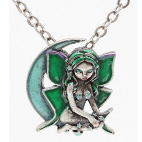 LUNA FAERY Green Moon Fairy Necklace Jasmine Becket-Griffith Strangeling pendant