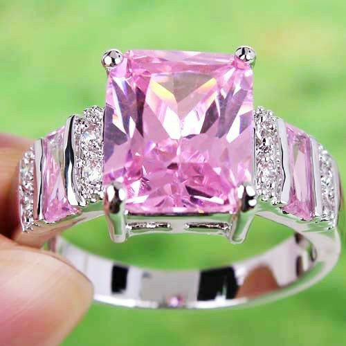 Noble-Pink-Topaz-White-Topaz-Gemstones-Silver-Ring-Size-7-8-9-10