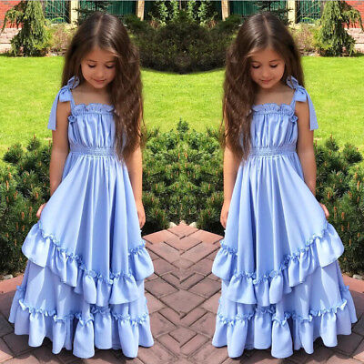 US STOCK Flower Girls Bow Wedding Dress Party Tutu Prom Ball Formal Pageant Gown - Blue Girls Dress