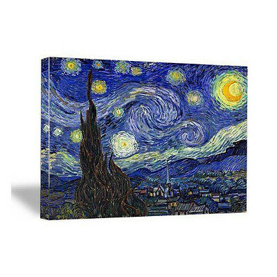 Blue Stretched Canvas Wall Art (Canvas Wall Art Print Starry Night Van Gogh Painting Repro Blue Picture)