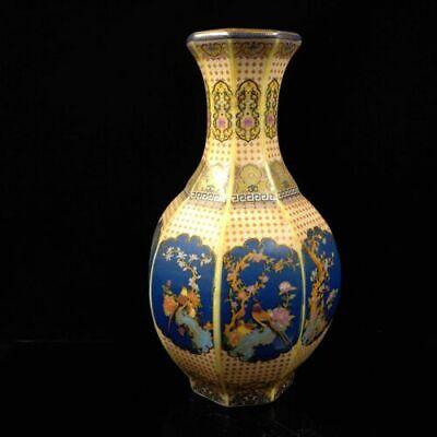 Collectibles Chinese Enamel Porcelain Vase Flower & Bird Home Decorations AP237
