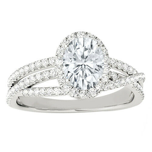 GIA Certified Diamond Engagement Halo Ring 3 CTW Oval & Round 18k White Gold