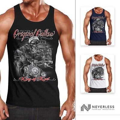 Herren Tanktop King Of The Road Motorrad Biker Skelett Rockabilly Neverless® (Skelett Tank Top)