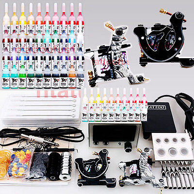 Complete Tattoo Kit 2 Machines Gun 40 color Inks Power supply needles set D238 on Rummage