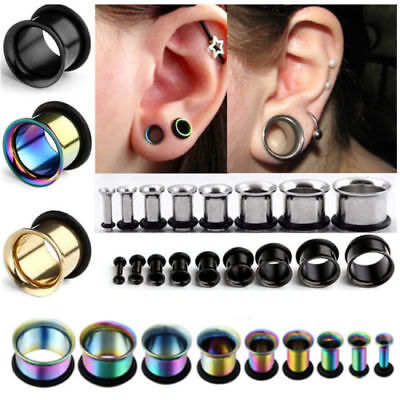 2-12MM Stainless Steel Horn O Ring Silicone Ear Tunnels Plugs Earlets Gauge 2pcs