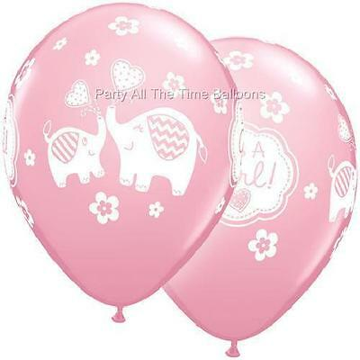 10pc Pink Elephant BABY shower Latex balloons 11