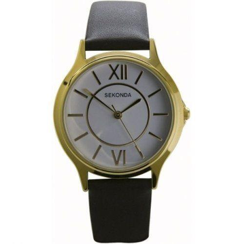 Sekonda 3023 Gents Quartz Analogue Gold Plated, Leather Strap Watch RRP £39.99