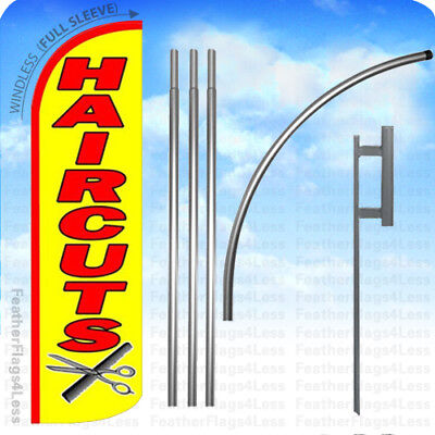 Haircuts - Windless Swooper Flag Kit Feather Banner Hair Cuts Sign 15 Yq