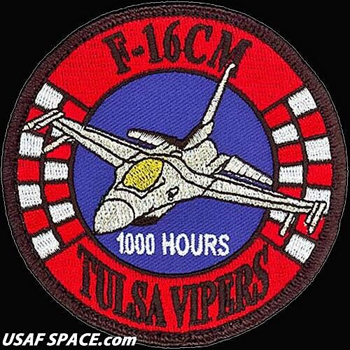USAF 125TH FIGHTER SQ - F-16CM - TULSA VIPERS - 1000 HOURS - ORIGINAL VEL PATCH