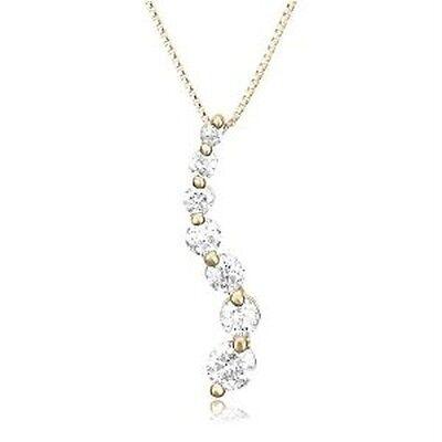 New 14k Yellow Gold Diamond Journey Curve Pendant 1/2 Cttw H Necklace -