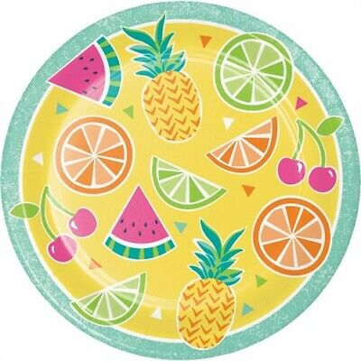 Summer Fruit 9 Inch Paper Plates Pineapple Watermelon Orange Party Decorations](Watermelon Paper Plates)