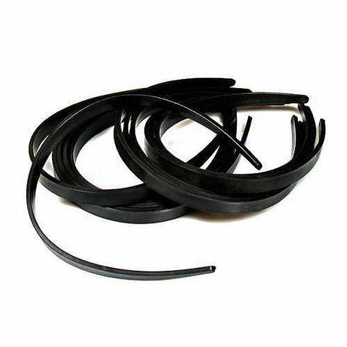 "MosBug 36 Pcs Headband Plain 1/2"" Black Plastic DIY Hair Acc"
