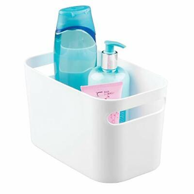 iDesign Plastic Storage Box with Handles, Small Bathroom Organiser Box Made of