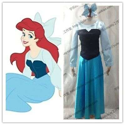 The Little Mermaid Adult Ariel Cosplay Costume blue dress with hair bow for part