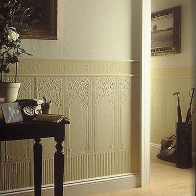 Rd06700 Anaglypta Dado Panels Oriental White Textured