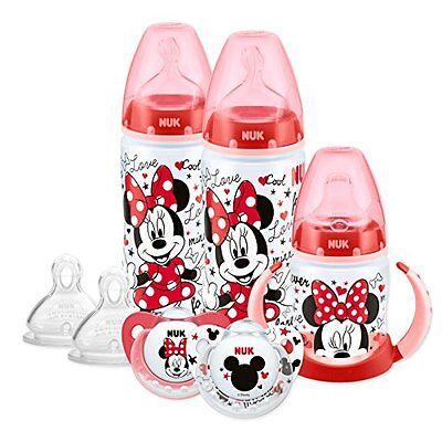 NUK Baby Minnie Motiv Babyflaschen-Set Glasflaschen Kunststofflaschen NEU