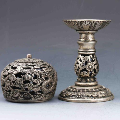 Exquisite Tibetan Silver Pure copper Dragon Incense Burner