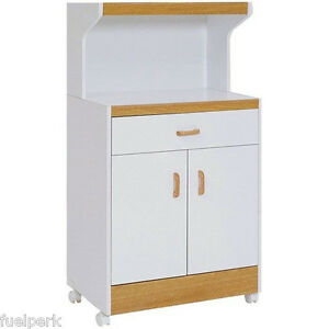 Microwave Kitchen Storage Cart White Drawer Wood Rolling Cabinet