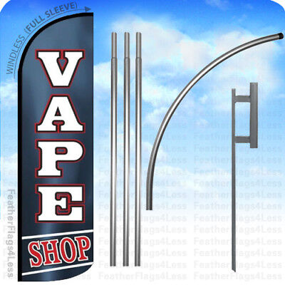 Vape Shop - Windless Swooper Flag 15 Kit Feather Banner Sign - Kq
