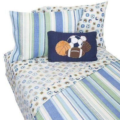 KIDS R US ALL STAR SPORTS BEDDING BED SET 8 PC FULL  6 PC TWIN BLUE STRIPES NIP All Star Sports Bedding
