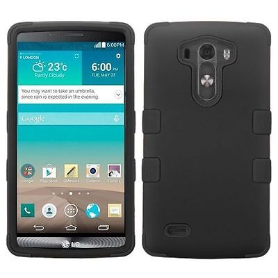 For Lg G3 Black Tuff Hard Silicone Hybrid Rubber Case