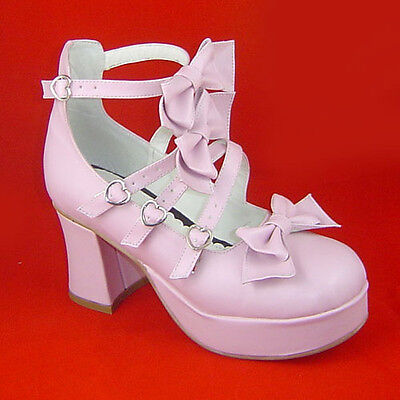 Pink Fairy Schuhe (pink lolita Shoes Schuhe Stöckel fairy tale sweet bow Prinzessin rosa barock neu)