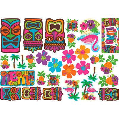 HAWAIIAN LUAU TIKI CUTOUT DECORATIONS (30) ~ Birthday Party Supplies Flamingo