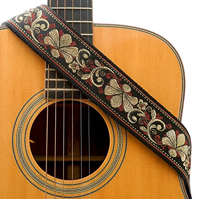 CLOUDMUSIC Guitar Strap Jacquard Weave Strap With Leather En