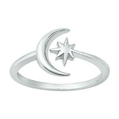 Moon and Star Toe Ring Genuine Sterling Silver 925 : Polished Face Height 9 mm Polished Toe Ring