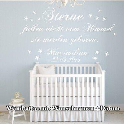 Wandtattoo Kinderzimmer  STERNE FALLEN NICHT VOM HIMMEL  Spruch mit Namen   XXL