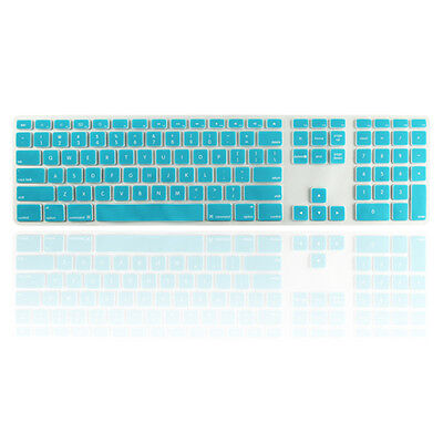Aqua Blue Ultra Thin silicone keyboard cover with numeric keypad for Apple iMac
