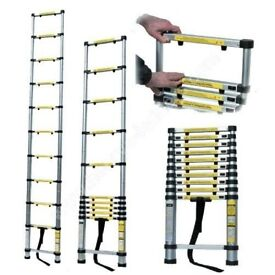 NEW TELESCOPIC ALUMINIUM LADDER EXTENDABLE TO 3.8M 13 STEPS WEIGHT 12.5KG
