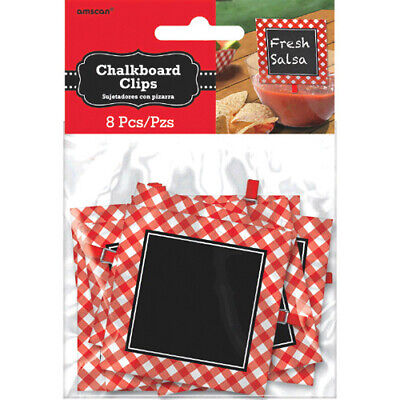 SUMMER Picnic Party CHALKBOARD FOOD CLIPS (8) ~ Birthday Supplies Decorations (Chalkboard Party Supplies)