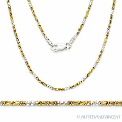 .925 Sterling Silver 14k Yellow Gold 1.5mm Bead & Twist Rope Chain Link Necklace