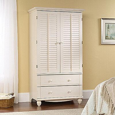 Sauder Office Furniture Armoire - Antiqued White - Harbor...