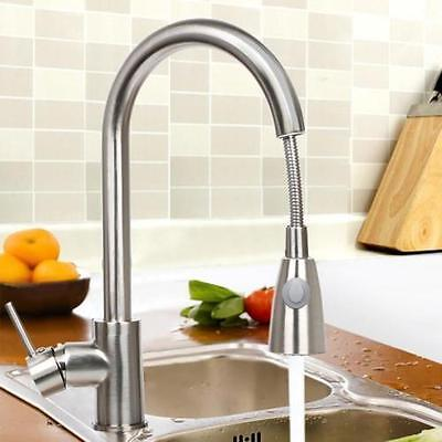 "16"" Chrome Kitchen Faucet One Handle Pull-Out Spray Swivel Sink Tap US"