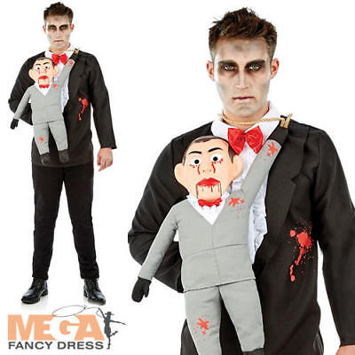 Ventriloquest & Dummy Mens Fancy Dress Horror Puppet Adults Halloween Costume