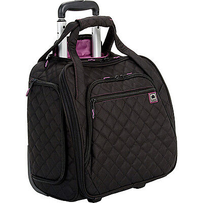 Delsey Quilted Rolling UnderSeat Tote - Black on Rummage