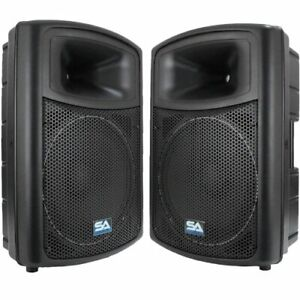 Seismic Audio PWS-15 (Pair)-Powered PA/DJ 15-Inch Molded Speaker