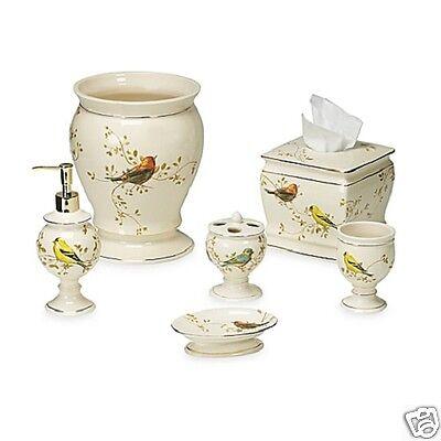 Avanti Linens Gilded Birds 6 Piece Ivory Ceramic Bath
