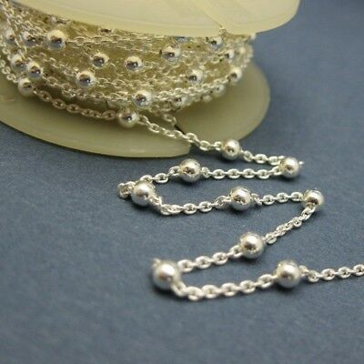 Sterling Silver Bulk Unfinished Chain,Silver Chain By the foot ,Beaded Chain-3mm