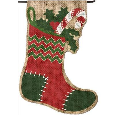 Evergreen Burlap Yard Decoration Christmas Stocking Hard wear Not Included